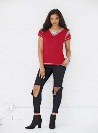 LAT™ Ladies' Modern 100% Combed Ringspun Cotton Gameday Lace-up Fine Jersey Tee