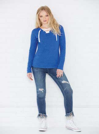 LAT™ Ladies' Modern Combed Ringspun Cotton Lace-up Long Sleeve Fine Jersey Tee