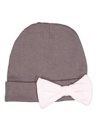 Rabbit Skins™ Infant 100% Combed Ringspun Cotton 1x1 Baby Rib Folded Beanie Cap with Contrast Bow.