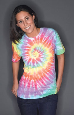 Sundog Adult 5.6 Ounce Pastel Rainbow Swirls Short Sleeve T-shirt