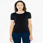 American Apparel Women's Poly Cotton Ringer Tee.