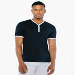 American Apparel Unisex Poly Cotton V-Neck Henley.