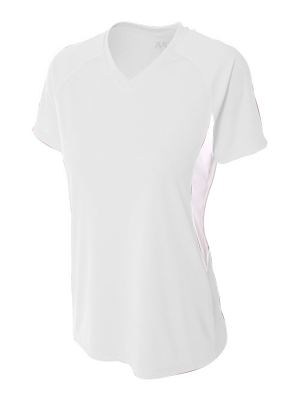 A4 Women's Cooling Color Blocked Performance V-Neck Tee.