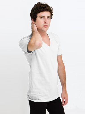 American Apparel USA Collection Adult Unisex 4.3 Ounce Fine Jersey Short Sleeve V-Neck T-Shirt