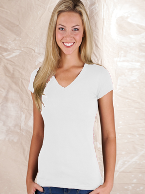 LAT Ladies 4.5 Ounce Junior Fit V-Neck Fine Jersey T-Shirt